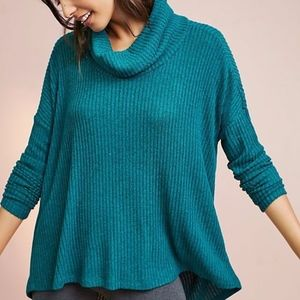 ANTHROPOLOGIE Teal Blue Cowl Neck Pullover Tunic